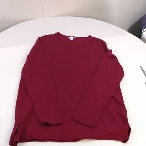 J Jill Red Long Sleeve Sweater Size Small